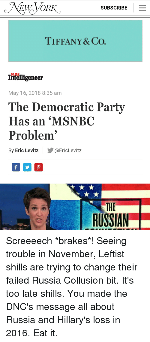 1da12f341d70c7 Party, Democratic Party, and Msnbc  SUBSCRIBE TIFFANY CO. DAILY o  Intelligencer May 16, 2018 8 35 am The Democratic Party Has an  MSNBC  Problem By Eric ...