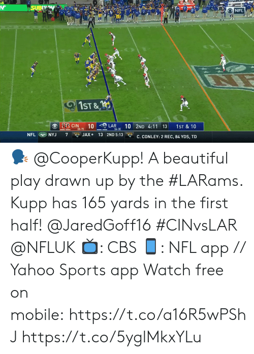 rec: SUBY  s JADE  NFL  1ST &  KEB CIN  10  (0-7)  10 2ND 4:11 13  LAR  1ST & 10  14-3)  NFL NYJ  JAX 13 2ND 5:13  7  C. CONLEY: 2 REC, 84 YDS, TD 🗣 @CooperKupp!  A beautiful play drawn up by the #LARams. Kupp has 165 yards in the first half! @JaredGoff16 #CINvsLAR @NFLUK  📺: CBS 📱: NFL app // Yahoo Sports app Watch free on mobile:https://t.co/a16R5wPShJ https://t.co/5yglMkxYLu