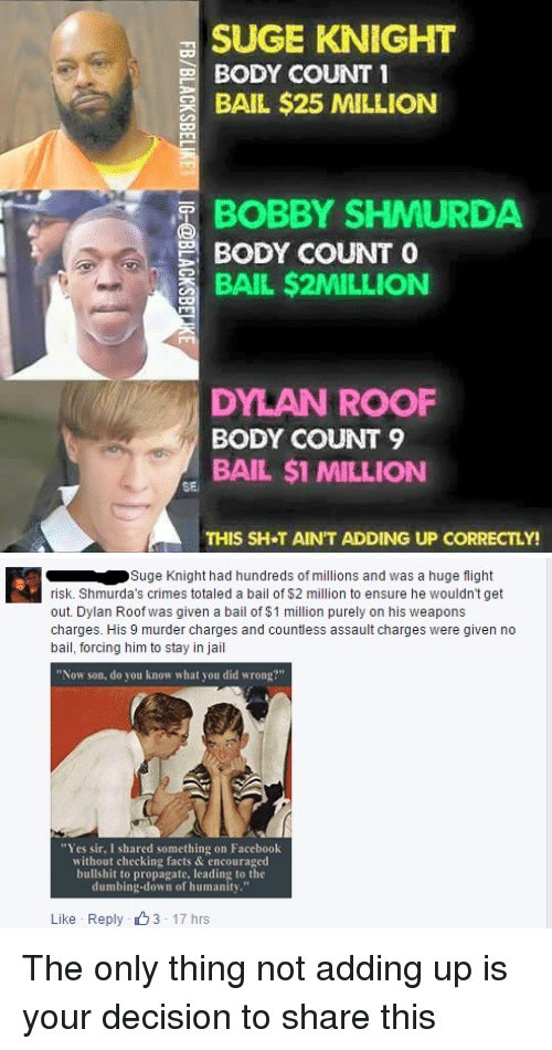 """Dylan Roof: SUGE KNIGHT  BODY COUNT 1  BAIL $25 MILLION  BOBBY SHMURDA  BODY COUNT  O  BAIL $2MILLION  DYLAN ROOF  BODY COUNT 9  BAIL $1 MILLION  THIS SH T AIN'T ADDING UP CORRECTLY!   Suge Knight had hundreds of millions and was a huge flight  risk. Shmurda's crimes totaled a bail of $2 million to ensure he wouldn't get  out. Dylan Roof was given a bail of $1 million purely on his weapons  charges. His 9 murder charges and countless assault charges were given no  bail, forcing him to stay in jail  """"Now son, do you know what you did wrong?""""  """"Yes sir, I shared something on Facebook  without checking facts & encouraged  bullshit to propagate, leading to the  dumbing-down of humanity.""""  Like Reply 3 17 hrs The only thing not adding up is your decision to share this"""