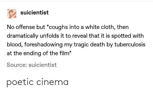 offense: suicientist  No offense but *coughs into a white cloth, then  dramatically unfolds it to reveal that it is spotted with  blood, foreshadowing my tragic death by tuberculosis  at the ending of the film*  Source: suicientist poetic cinema