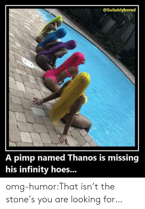 Hoes, Omg, and Tumblr: @Suitablybored  A pimp named Thanos is missing  his infinity hoes... omg-humor:That isn't the stone's you are looking for…