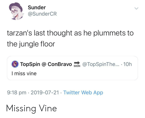 Soon..., Twitter, and Vine: Sunder  @SunderCR  tarzan's last thought as he plummets to  the jungle floor  TopSpin @ ConBravo  @TopSpinThe... 10h  SOON  I miss vine  9:18 pm 2019-07-21. Twitter Web App Missing Vine