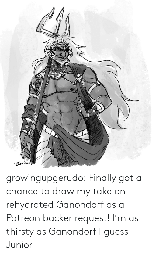 Thirsty: Sunror growingupgerudo:  Finally got a chance to draw my take on rehydrated Ganondorf as a Patreon backer request!I'm as thirsty as Ganondorf I guess-Junior
