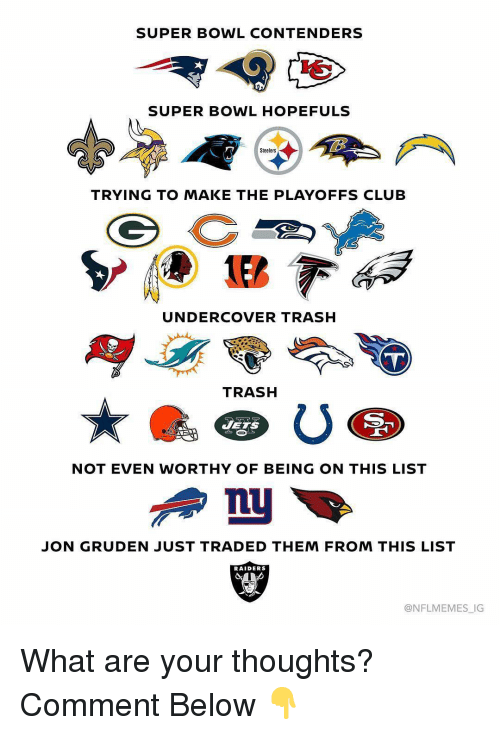 Jon Gruden: SUPER BOWL CONTENDERS  SUPER BOWL HOPEFULS  Steelers  TRYING TO MAKE THE PLAYOFFS CLUB  UNDERCOVER TRASH  TRASH  JETS  NOT EVEN WORTHY OF BEING ON THIS LIST  JON GRUDEN JUST TRADED THEM FROM THIS LIST  RAIDERS  @NFLMEMES_IG What are your thoughts? Comment Below 👇