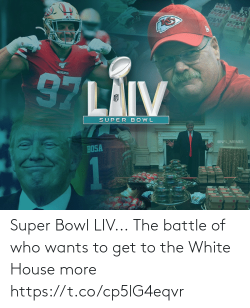 the white house: Super Bowl LIV...  The battle of who wants to get to the White House more https://t.co/cp5lG4eqvr