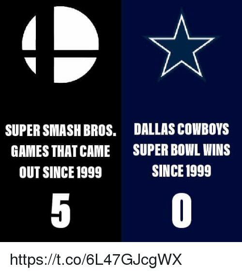super smash bros: SUPER SMASH BROS.  GAMES THAT CAME  OUT SINCE 1999  DALLAS COWBOYS  SUPER BOWL WINS  SINCE 1999 https://t.co/6L47GJcgWX