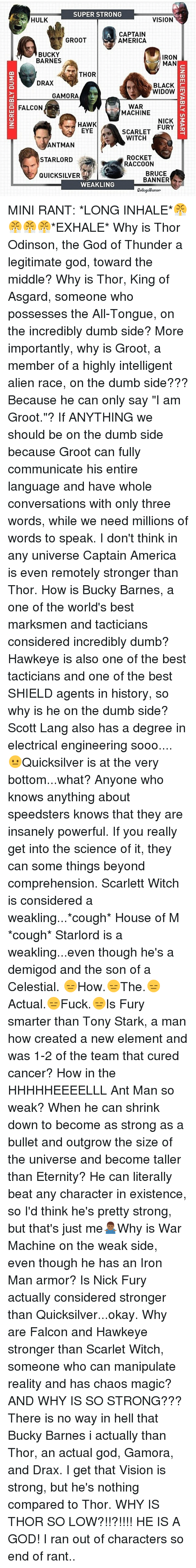 """electrical engineering: SUPER STRONG  HULK  VISION  CAPTAIN  GROOT  AMERICA  BUCKY  IRON  BARNES  MAN  THOR  DRAX  BLACK  WIDOW  m  GAMORA  WAR  FALCON  MACHINE  NICK  3  HAWK  FURY  EYE  SCARLET  WITCH  ANTMAN  ROCKET  STARLORD  RACCOON  BRUCE  QUICKSILVER  BANNER  WEAKLING  CollegeHumor MINI RANT: *LONG INHALE*😤😤😤😤*EXHALE* Why is Thor Odinson, the God of Thunder a legitimate god, toward the middle? Why is Thor, King of Asgard, someone who possesses the All-Tongue, on the incredibly dumb side? More importantly, why is Groot, a member of a highly intelligent alien race, on the dumb side??? Because he can only say """"I am Groot.""""? If ANYTHING we should be on the dumb side because Groot can fully communicate his entire language and have whole conversations with only three words, while we need millions of words to speak. I don't think in any universe Captain America is even remotely stronger than Thor. How is Bucky Barnes, a one of the world's best marksmen and tacticians considered incredibly dumb? Hawkeye is also one of the best tacticians and one of the best SHIELD agents in history, so why is he on the dumb side? Scott Lang also has a degree in electrical engineering sooo.... 😐Quicksilver is at the very bottom...what? Anyone who knows anything about speedsters knows that they are insanely powerful. If you really get into the science of it, they can some things beyond comprehension. Scarlett Witch is considered a weakling...*cough* House of M *cough* Starlord is a weakling...even though he's a demigod and the son of a Celestial. 😑How.😑The.😑Actual.😑Fuck.😑Is Fury smarter than Tony Stark, a man how created a new element and was 1-2 of the team that cured cancer? How in the HHHHHEEEELLL Ant Man so weak? When he can shrink down to become as strong as a bullet and outgrow the size of the universe and become taller than Eternity? He can literally beat any character in existence, so I'd think he's pretty strong, but that's just me🤷🏾♂️Why is War Machine on the weak side, even """