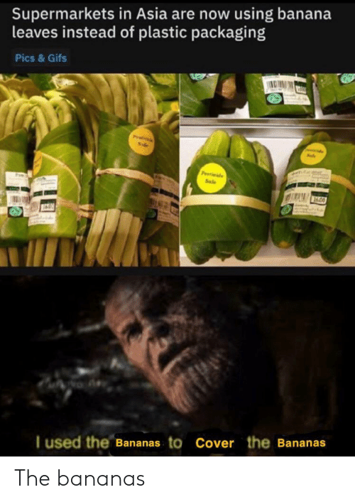 Banana, Gifs, and Asia: Supermarkets in Asia are now using banana  leaves instead of plastic packaging  Pics & Gifs  Pitils  P de  Sale  I used the Bananas to Cover the Bananas The bananas