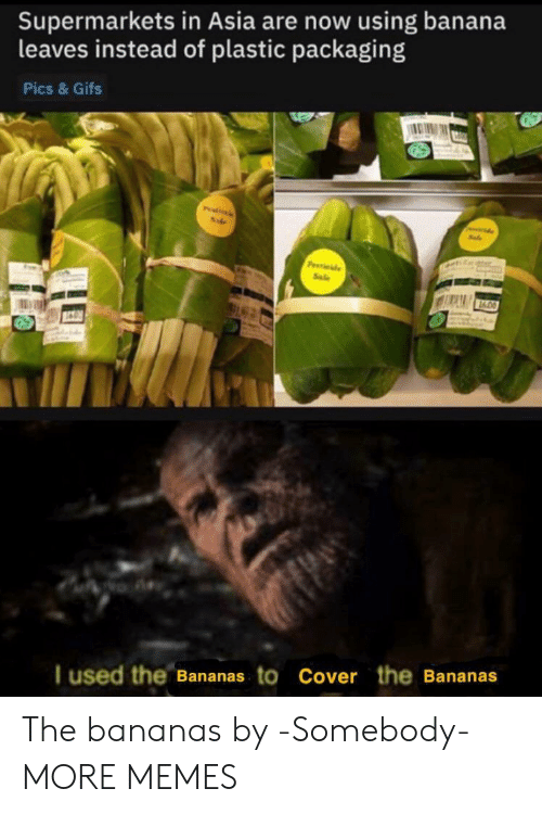 Cover: Supermarkets in Asia are now using banana  leaves instead of plastic packaging  Pics & Gifs  Pitils  P de  Sale  I used the Bananas to Cover the Bananas The bananas by -Somebody- MORE MEMES