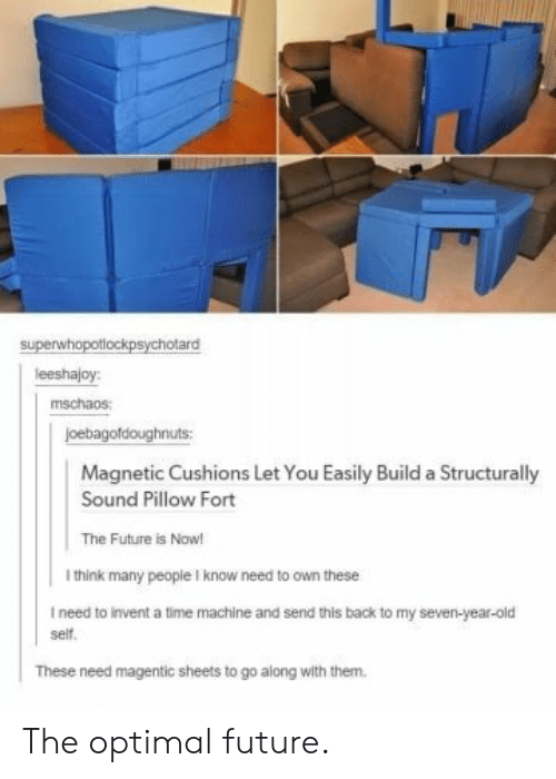 optimal: superwhopotlockpsychotard  leeshajoy:  mschaos:  joebagofdoughnuts  Magnetic Cushions Let You Easily Build a Structurally  Sound Pillow Fort  The Future is Now!  I think many people I know need to own these  I need to invent a time machine and send this back to my seven-year-old  self.  These need magentic sheets to go along with them. The optimal future.