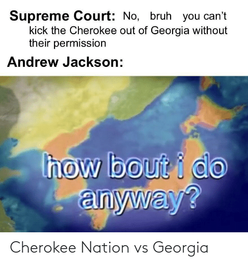 Supreme Court: Supreme Court: No, bruh you can't  kick the Cherokee out of Georgia without  their permission  Andrew Jackson:  how bout i do  anyway? Cherokee Nation vs Georgia