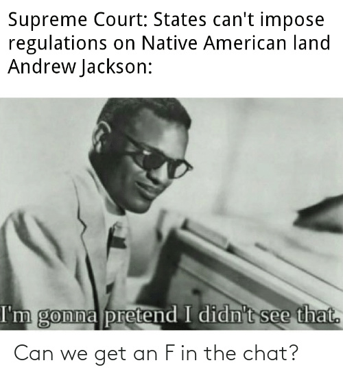 Supreme Court: Supreme Court: States can't impose  regulations on Native American land  Andrew Jackson:  I'm gonna pretend I didn't see that. Can we get an F in the chat?