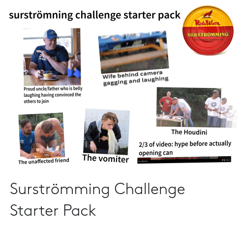 Hype, Starter Packs, and Camera: surströmning challenge starter pack  RadaWlven  FARMER  SURSTROMMING  GOSTA HANNELLS FISKSALTERI A-B  SKAGSUDDE  call M  119-23  uote  55  Osk  SURSTR  Wife behind camera  gagging and laughing  Proud uncle/father who is belly  laughing having convinced the  others to join  The Houdini  2/3 of video: hype before actually  opening can  са  The vomiter  d friend  The unaffecte  952/1456  HO Surströmming Challenge Starter Pack