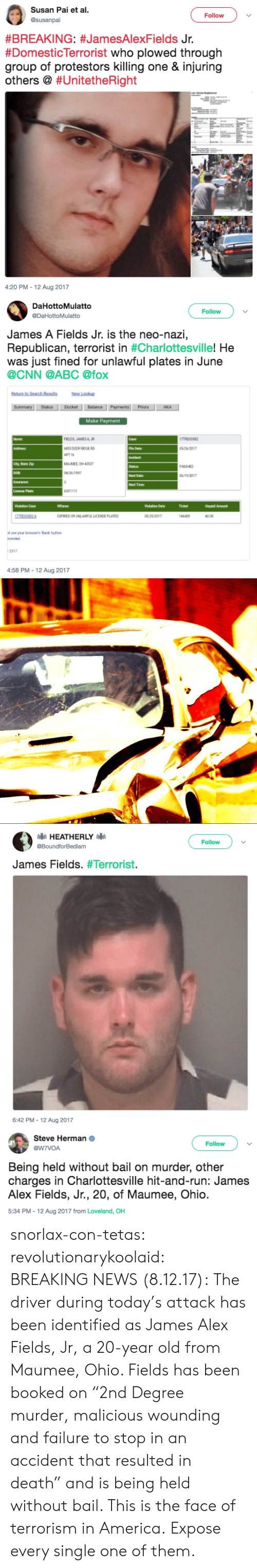"Abc, America, and cnn.com: Susan Pai et al  Follow  #BREAKING: #JamesAlexFields Jr.  #Domesticlerrorist who plowed through  group of protestors killing one & injuring  others @ #Un.tetheRight  4:20 PM-12 Aug 2017   DaHottoMulatto  @DaHottoMulatto  Follow  James A Fields Jr. is the neo-nazi,  Republican, terrorist in #Charlottesville,He  was just fined for unlawful plates in June  @CNN @ABC @fox  New Lookup  StatusDocket Balance  Priors  Make Payment  FIELDS JAMESA R  6853 DEER RIDGE RD  АРТН  MAUMEE OH 4353  5 26/2017  NISHED  Next Date  Next Time  GVF1111  Ticket  Unpeid Amount  EXPIREDOR UNLAWFUIL LICENSE PLATES  0.00  ot use your browsers Back button  2017  4:58 PM-12 Aug 2017   Follow  @BoundforBedlam  James Fields. #Terrorist·  6:42 PM-12 Aug 2017   Steve Herman  @W7VOA  Follow  Being held without bail on murder, other  charges in Charlottesville hit-and-run: James  Alex Fields, Jr., 20, of Maumee, Ohio  5:34 PM-12 Aug 2017 from Loveland, OH snorlax-con-tetas: revolutionarykoolaid:   BREAKING NEWS (8.12.17): The driver during today's attack has been identified as James Alex Fields, Jr, a 20-year old from Maumee, Ohio. Fields has been booked on ""2nd Degree murder, malicious wounding and failure to stop in an accident that resulted in death"" and is being held without bail.  This is the face of terrorism in America.   Expose every single one of them."