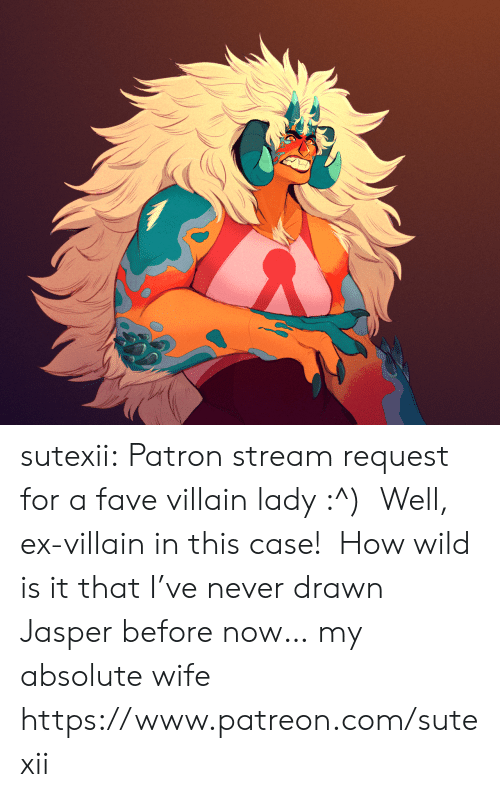 Tumblr, Blog, and Fave: sutexii: Patron stream request for a fave villain lady :^)  Well, ex-villain in this case!  How wild is it that I've never drawn Jasper before now… my absolute wife https://www.patreon.com/sutexii