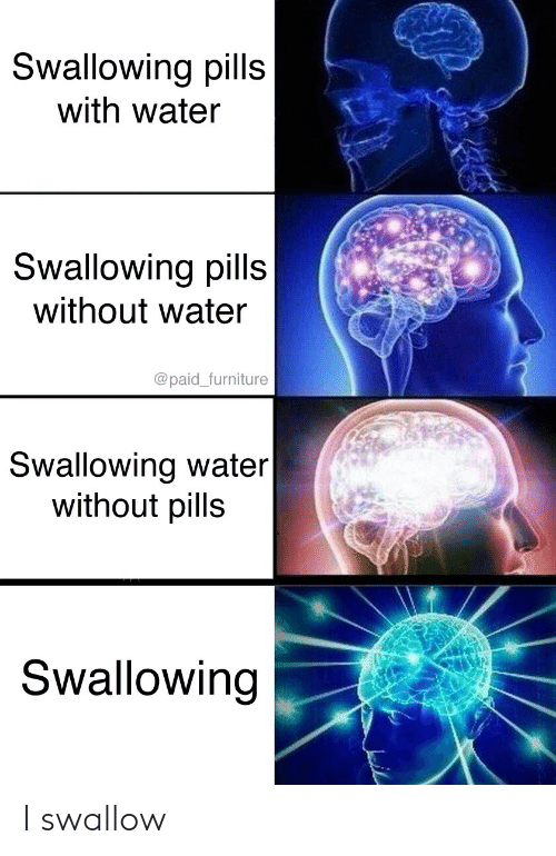Furniture, Water, and Swallow: Swallowing pills  with water  Swallowing pills  without water  @paid_furniture  Swallowing water|  without pills  Swallowing I swallow