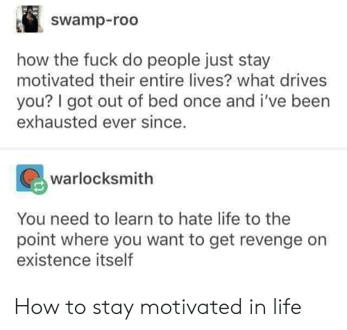 hate life: swamp-roo  how the fuck do people just stay  motivated their entire lives? what drives  you? I got out of bed once and i've been  exhausted ever since.  warlocksmith  You need to learn to hate life to the  point where you want to get revenge orn  existence itself How to stay motivated in life