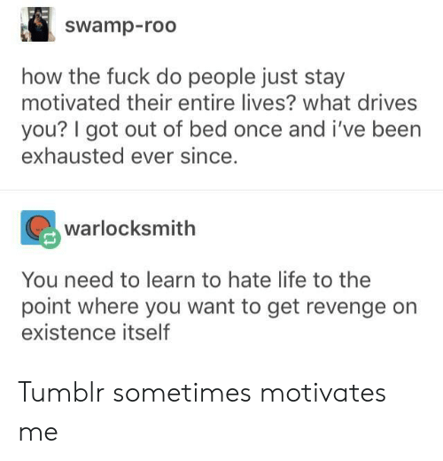 hate life: swamp-roo  how the fuck do people just stay  motivated their entire lives? what drives  you? I got out of bed once and i've been  exhausted ever since.  warlocksmith  You need to learn to hate life to the  point where you want to get revenge on  existence itself Tumblr sometimes motivates me