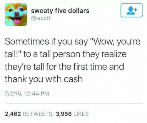 """Wow, Thank You, and Time: sweaty five dollars  @iscoff  Sometimes if you say """"Wow, you're  tall!"""" to a tall person they realize  they're tall for the first time and  thank you with cash  7/2/15, 12:44 PM  2,462 RETWEETS 3,956 LIKES"""
