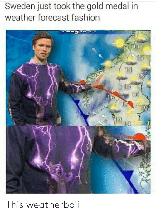 Fashion, Forecast, and Sweden: Sweden just took the gold medal in  weather forecast fashion  15  14  15  13  16  16  17  19  18 This weatherboii