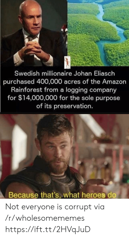 Corrupt: Swedish millionaire Johan Eliasch  purchased 400,000 acres of the Amazon  Rainforest from a logging company  for $14,000,000 for the sole purpose  of its preservation.  Because that's, what heroes do Not everyone is corrupt via /r/wholesomememes https://ift.tt/2HVqJuD
