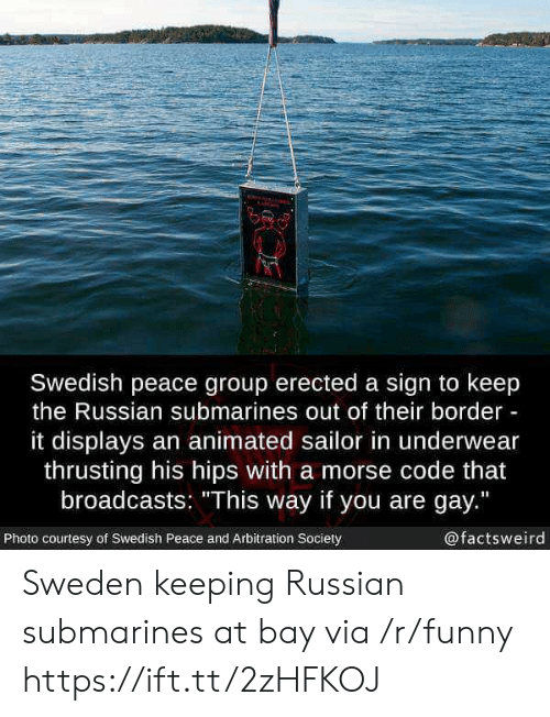 "You Are Gay: Swedish peace group erected a sign to keep  the Russian submarines out of their border  it displays an animated sailor in underwear  thrusting his hips with a morse code that  broadcasts: ""This way if you are gay.""  Photo courtesy of Swedish Peace and Arbitration Society  @factsweird Sweden keeping Russian submarines at bay via /r/funny https://ift.tt/2zHFKOJ"