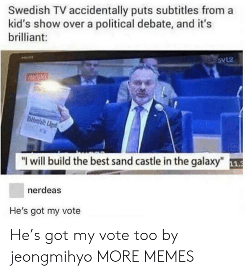 """Dank, Memes, and Target: Swedish TV accidentally puts subtitles from a  kid's show over a political debate, and it's  brilliant:  5VL2  """"I will build the best sand castle in the galaxy"""" 1  nerdeas  He's got my vote He's got my vote too by jeongmihyo MORE MEMES"""