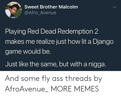 Django: Sweet Brother Malcolm  @Afro_Avenue  Playing Red Dead Redemption 2  makes me realize just how lit a Django  game would be.  Just like the same, but with a nigga. And some fly ass threads by AfroAvenue_ MORE MEMES