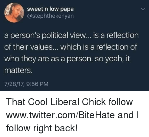 values: sweet n low papa  @stephthekenyan  a person's political view... is a reflection  of their values... which is a reflection of  who they are as a person. so yeah, it  matters.  7/28/17, 9:56 PM That Cool Liberal Chick  follow www.twitter.com/BiteHate and I follow right back!