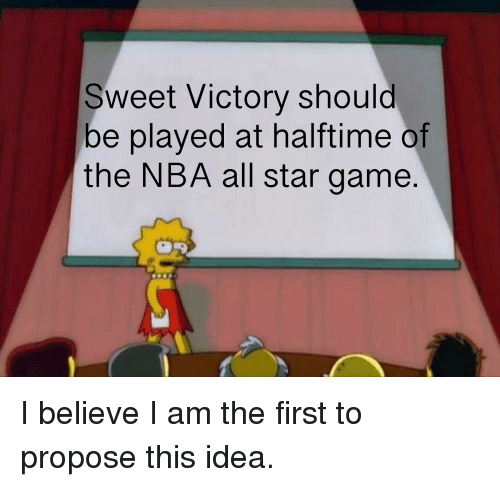 NBA All-Star Game: Sweet Victory should  be played at halftime of  the NBA all star game.
