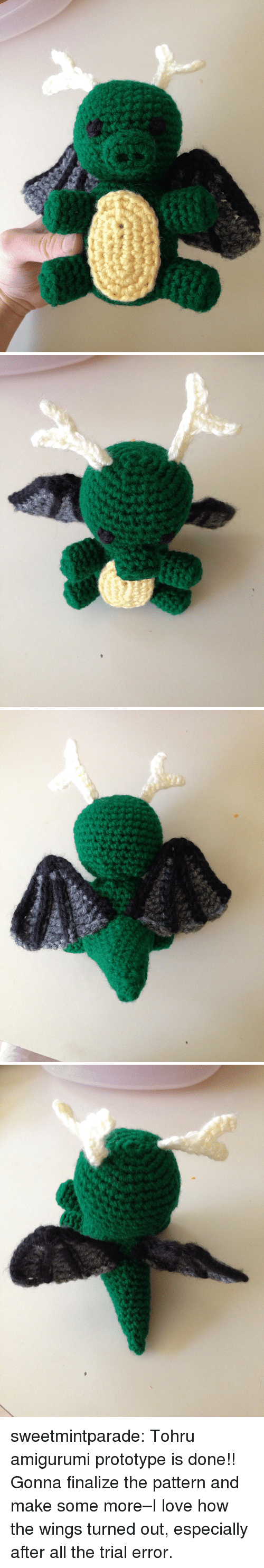 tohru: sweetmintparade:  Tohru amigurumi prototype is done!! Gonna finalize the pattern and make some more–I love how the wings turned out, especially after all the trial  error.