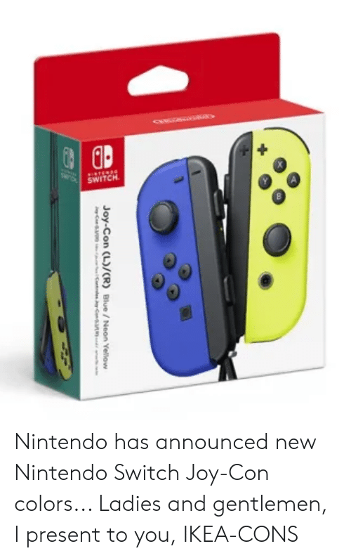 Ikea, Nintendo, and Blue: SWITCH  Joy-Con (L)/(R) Blue/ Neon Yellow Nintendo has announced new Nintendo Switch Joy-Con colors... Ladies and gentlemen, I present to you, IKEA-CONS