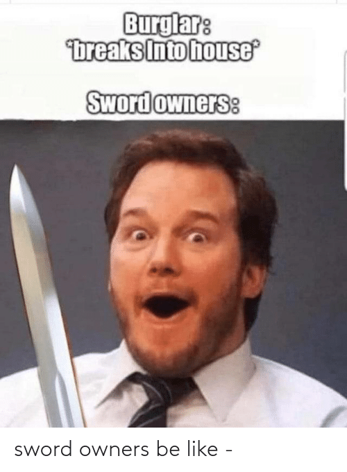 like: sword owners be like -