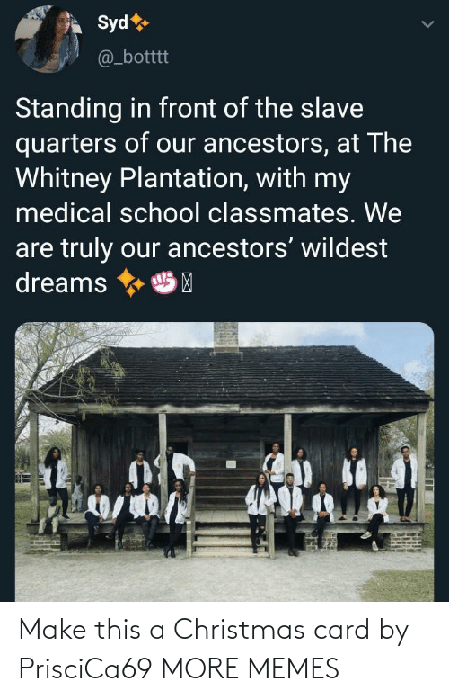 Dreams: Syd  @_botttt  Standing in front of the slave  quarters of our ancestors, at The  Whitney Plantation, with my  medical school classmates. We  are truly our ancestors' wildest  dreams  HP Make this a Christmas card by PrisciCa69 MORE MEMES