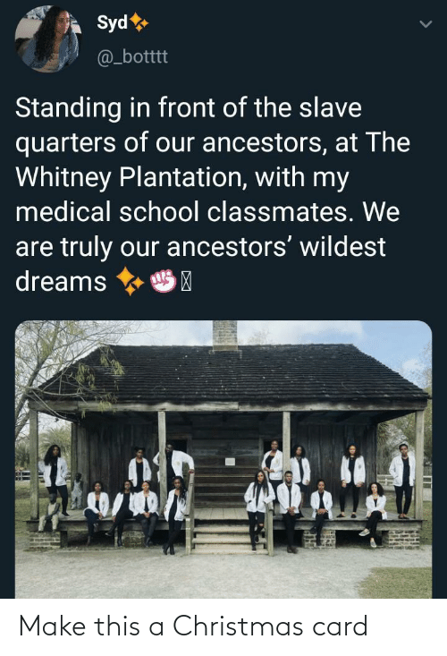 Dreams: Syd  @_botttt  Standing in front of the slave  quarters of our ancestors, at The  Whitney Plantation, with my  medical school classmates. We  are truly our ancestors' wildest  dreams  HP Make this a Christmas card