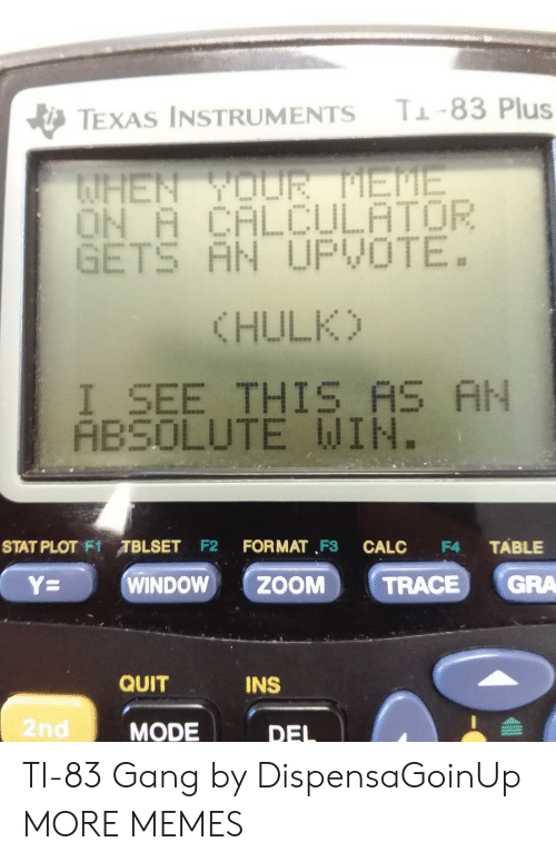 Calculator: T-83 Plus  TEXAS INSTRUMENTS  AHEN YOUR EME  ON A CALCULATOR  GETS AN UPVOTE.  (HULK)  I_SEE THIS AS AN  ABSOLUTE WIN.  STAT PLOT F1TBLSET F2  FORMAT F3  TABLE  CALC  F4  GRA  WINDOW  ZOOM  Y=  TRACE  QUIT  INS  2nd  MODE  DEL TI-83 Gang by DispensaGoinUp MORE MEMES