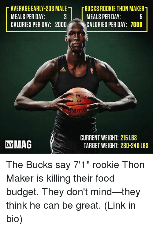 """Rooky: T AVERAGE EARLY-20S MALE r BUCKS ROOKIE THON MAKERT  MEALS PERDAY:  MEALS PERDAY:  CALORIES PER DAY: 2000  CALORIES PER DAY: 7000  CURRENT WEIGHT: 215 LBS  bh MAG  TARGET WEIGHT 230-240LBS The Bucks say 7'1"""" rookie Thon Maker is killing their food budget. They don't mind—they think he can be great. (Link in bio)"""