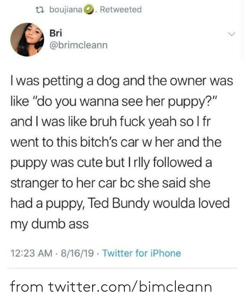 """Ass, Bruh, and Cute: t boujiana. Retweeted  Bri  @brimcleann  I was petting a dog and the owner was  like """"do you wanna see her puppy?""""  and I was like bruh fuck yeah so l fr  went to this bitch's car w her and the  puppy was cute but Irlly followed a  stranger to her car bc she said she  had a puppy, Ted Bundy woulda loved  my dumb ass  12:23 AM 8/16/19 Twitter for iPhone from twitter.com/bimcleann"""
