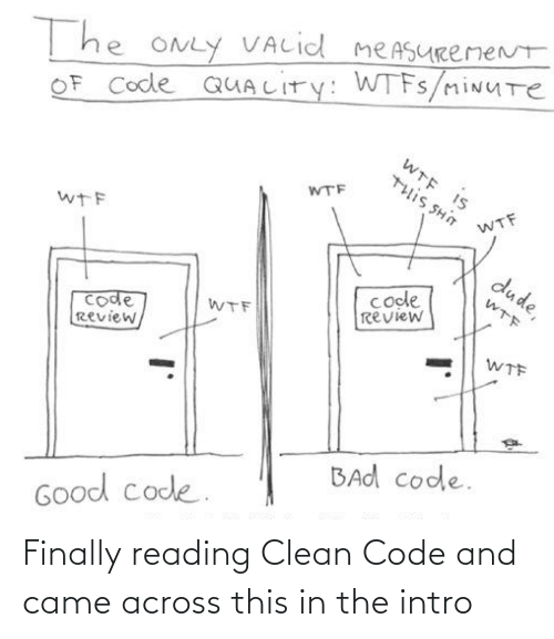 WTF: T he ONLY VALid meASURemeNt  OF Code QUALITY: WTFS/miNUTe  WTE IS  WTF  U HS SI11L  WTF  wTF  dude,  code  review  WTF  code  Review,  WTF  WTF  BAd code.  Good code. Finally reading Clean Code and came across this in the intro