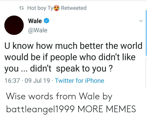 Wale: t Hot boy TyRetweeted  Wale  @Wale  U know how much better the world  would be if people who didn't like  you .. didn't speak to you?  16:37 09 Jul 19 Twitter for iPhone Wise words from Wale by battleangel1999 MORE MEMES