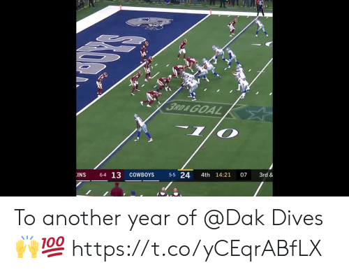 Dallas Cowboys, Memes, and Goal: t i-  3RD&GOAL  INS  6-4 13  COWBOYS  5-5 24  4th 14:21  07  3rd & To another year of @Dak Dives 🙌💯 https://t.co/yCEqrABfLX