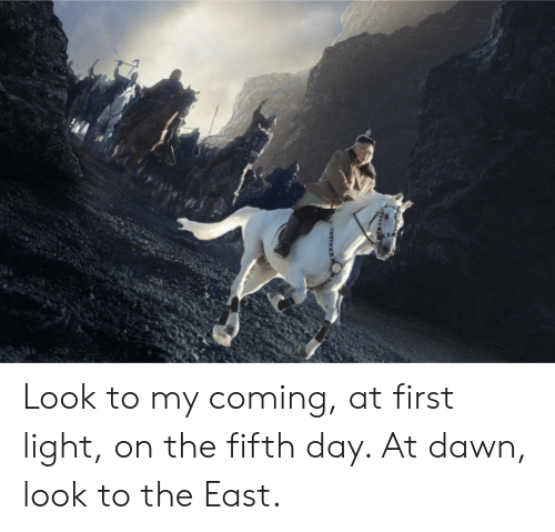 Dawn, Lord of the Rings, and Light: T Look to my coming, at first light, on the fifth day. At dawn, look to the East.