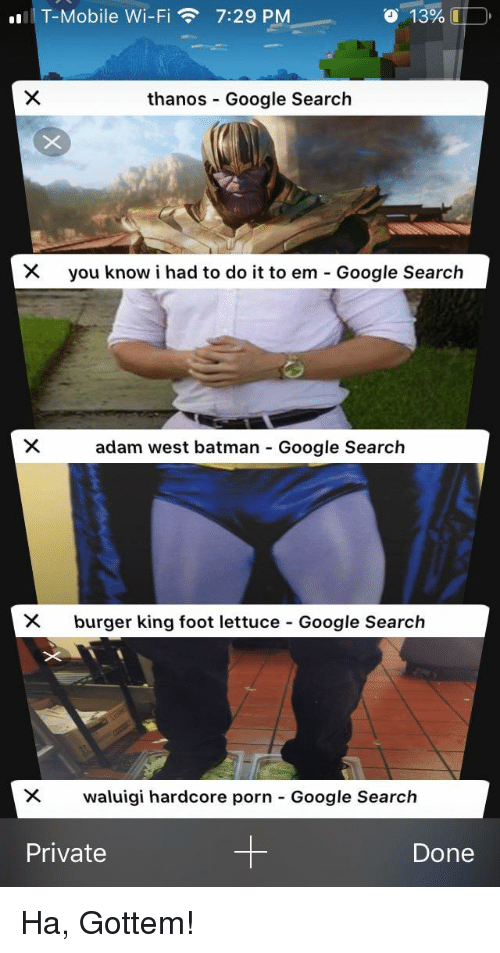 I Had To Do It: T-Mobile Wi-Fi7:29 PM  o  13%.  thanos Google Search  you know i had to do it to em-Google Search  adam west batman Google Search  X burger king foot lettuce Google Search  waluigi hardcore porn-Google Search  Private  Done Ha, Gottem!