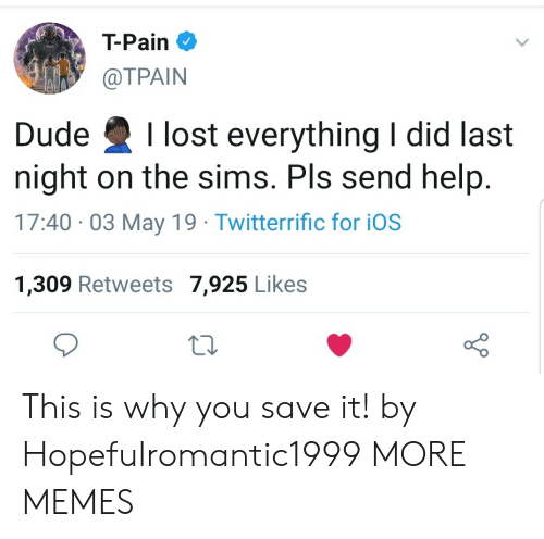 Dank, Dude, and Memes: T-Pain  @TPAIN  Dude Ilost everything I did last  night on the sims. Pls send help  17:40 03 May 19 Twitterrific for iOS  1,309 Retweets 7,925 Likes This is why you save it! by Hopefulromantic1999 MORE MEMES