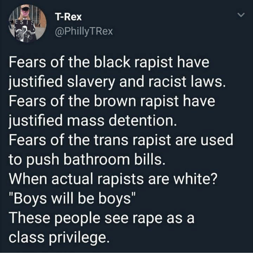 "Memes, Black, and Justified: |  T-Rex  @PhillyTRex  Fears of the black rapist have  justified slavery and racist laws  Fears of the brown rapist have  justified mass detention.  Fears of the trans rapist are used  to push bathroom bills  When actual rapists are white?  ""Boys will be boys""  These people see rape as a  class privilege."