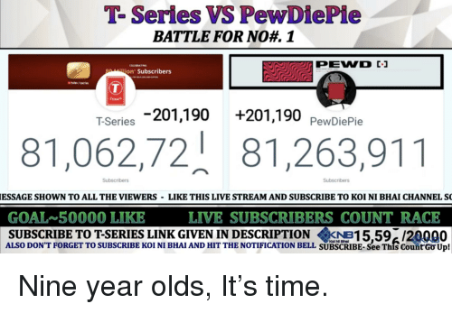 Goal, Link, and Live: T-Series VS PewDiePie  BATTLE FOR NO  1  jon Subscribers  T-Series 201,190+201,190 PewDiePie  81,062,72 81,263,911  Subscribers  Subscribers  ESSAGE SHOWN TO ALL THE VIEWERS LIKE THIS LIVE STREAM AND SUBSCRIBE TO KOI NI BHAI CHANNEL S  GOAL 50000 LIKE  LIVE SUBSCRIBERS COUNT RACE  SUBSCRIBE TO T-SERIES LINK GIVEN IN DESCRIPTION KNB15,59/20000  ALSO DON'T FORGET TO SUBSCRIBE KOI NI BHAI AND HIT THE NOTIFICATION BELL SUBSCRIBE- See Thfs CountU  p!