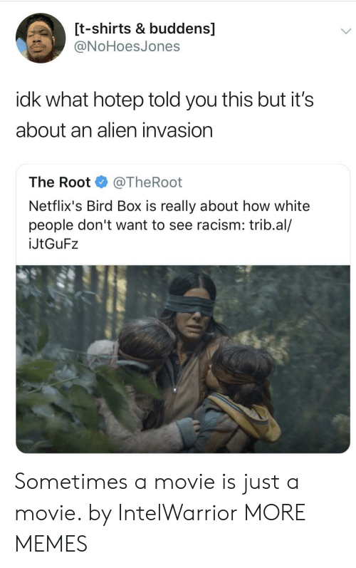 netflixs: [t-shirts & buddens]  ONoHoesJones  idk what hotep told you this but it's  about an alien invasion  The Root @TheRoot  Netflix's Bird Box is really about how white  people don't want to see racism: trib.al/  İJtGuF2 Sometimes a movie is just a movie. by IntelWarrior MORE MEMES