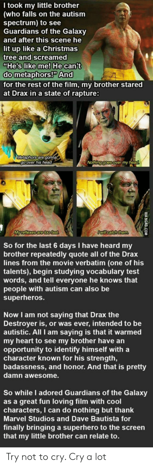 """9gag, Christmas, and Head: T took my little brother  (who falls on the autism  spectrum) to see  Guardians of the Galaxy  and after this scene he  lit up like a Christmas  tree and screamed  """"He's like me! He can't  do metaphors!P And  for the rest of the film, my brother stared  at Drax in a state of rapture:  Metaphors are gonna  go over his head  Nothing goes over my head  My reflexes are toofast  Owill catch them  So for the last 6 days I have heard my  brother repeatedly quote all of the Drax  lines from the movie verbatim (one of his  talents), begin studying vocalbulary test  words, and tell everyone he knows that  people with autism can also be  superheros.  Now I am not saying that Drax the  Destroyer is, or was ever, intended to be  autistic. All I am saying is that it warmed  my heart to see my brother have an  opportunity to identify himself with a  character known for his strength,  badassness, and honor. And that is pretty  damn awesome.  So while I adored Guardians of the Galaxy  as a great fun loving film with cool  characters, I can do nothing but thank  Marvel Studios and Dave Bautista for  finally bringing a superhero to the screen  that my little brother can relate to.  VIA 9GAG.COM Try not to cry. Cry a lot"""
