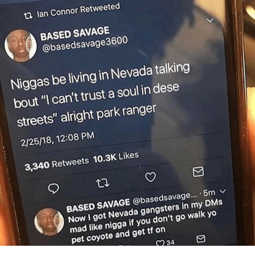 """Nevada: t2 lan Connor Retweeted  BASED SAVAGE  @basedsavage3600  Niggas be living in Nevada talking  bout """"I can't trust a soul in dese  streets"""" alright park ranger  2/25/18, 12:08 PM  3,340 Retweets 10.3K Likes  BASED SAVAGE @basedsavage... . 5m v  Now I got Nevada gangsters in my DMs  mad like nigga  pet coyote and get tf on  if you don't go walk yo  234"""