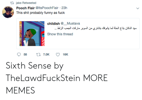 sixth sense: ta jake Retweeted  Pooch Flair @ItsPoochFlair 23h  This shit probably funny as fuck  childish @_. Mustava  Show this thread Sixth Sense by TheLawdFuckStein MORE MEMES